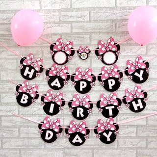 Minnie theme Happy Birthday Letter Birthday Party Banner Decoration