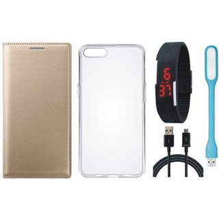 Samsung C7 Pro Premium Quality Leather Cover with Silicon Back Cover, Digital Watch, USB LED Light and USB Cable by Vivacious