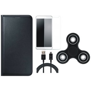 Samsung C9 Pro Sleek Leather Cover with Spinner, Tempered Glass and USB Cable by Vivacious