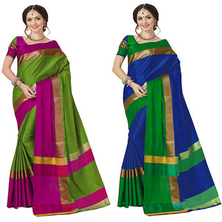 2a44d12c4edeb6 Buy Indian Beauty Combo of 2 Multicolor Art Cotton Silk Embellished Saree  With Blouse Online - Get 69% Off