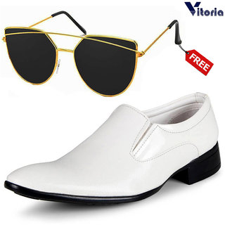 Vitoria White Slip on Smart Formals With Free Fashionable Unisex Sunglasses For Men