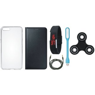 Oppo F1s Premium Leather Cover with Spinner, Silicon Back Cover, Digital Watch, USB LED Light and AUX Cable