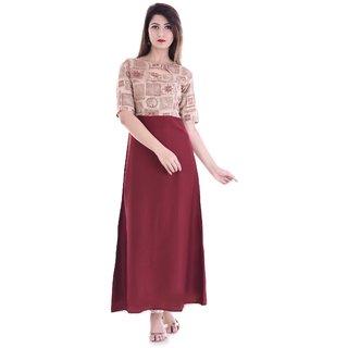 PMM Creation Red Printed Cotton Stitched Straight Solid Cotton Kurti / Kurta / Kurtis for Women