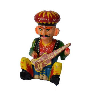 Handmadeo artize rajasthan India Souvenir Wooden Magnet Musician perfect souvenir for gifting