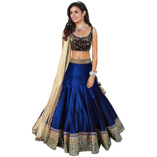 Florence Womens Blue Bangalore Silk Lehenga Choli