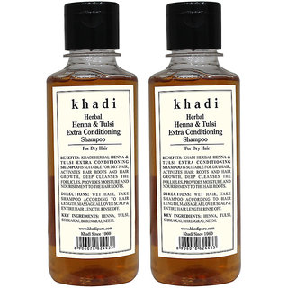d63f472921386 Buy Khadi Herbal Henna Tulsi Extra Conditioning Shampoo - 210ml (Set of 2)  Online - Get 15% Off