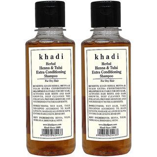 Khadi Herbal Henna  Tulsi Extra Conditioning Shampoo - 210ml (Set of 2)
