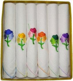 Utkarsh Set of 6 Pcs Premium Quality Women's/ Girl's Pure Cotton White Color With Beautiful Design Hankies/ Handkerchief
