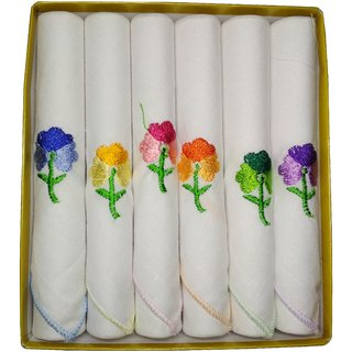 Utkarsh Set of 6 Pcs Premium Quality Women's/ Girl's Pure Cotton White Color With Beautiful Design Hankies/ Handkerchief