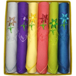 Utkarsh Set of 6 Pcs Premium Quality Women's/ Girl's Pure Cotton Dark Colors With Beautiful Design Hankies/ Handkerchief