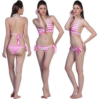 Haltered Striped Textured Bikini Top Striped Side-Tie Brief Bottom