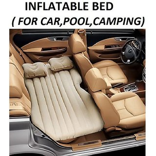 Car Inflatable Bed cum Sofa with Two Pillows  Three Separate Compression Sacks