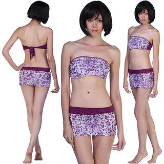 Bandeau Beauty Ruffled Skirty Bikini Set