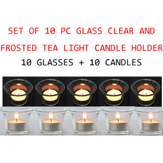 Decorative 10 Piece T- Lites Glass Candle Holders With 10 Piece Candles