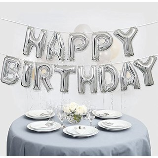 HAPPY BIRTHDAY Letters Foil Toy Balloon - Silver / Hanging Foil Birthday Balloon