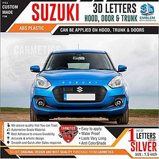 CarMetics Suzuki 3D Letters for Maruti Suzuki Swift 2018 Silver Color 1 Set Car 3D Sticker 3D Emblem Accessories Letters