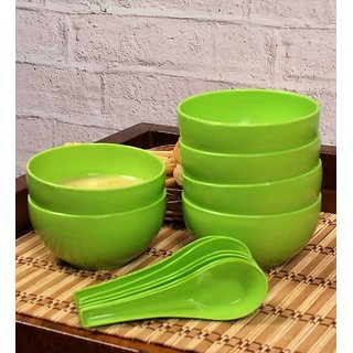 Green Soup Bowl Set of 6 with spoons