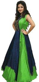 V-KARAN Women's Bangalore Silk Green Party Wear Designer Semi-stitched Gown