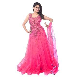 V-KARAN Women's Net Pink Party Wear Designer Semi-stitched Gown