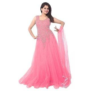 V-KARAN Women's Net Light Pink Party Wear Designer Semi-stitched Gown