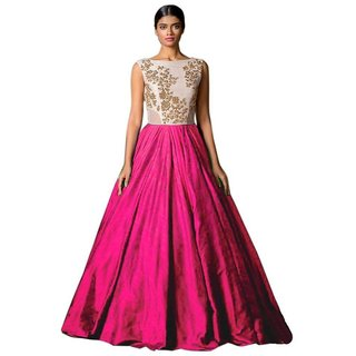 V-KARAN Women's silk Pink Party Wear Designer Semi-stitched Gown