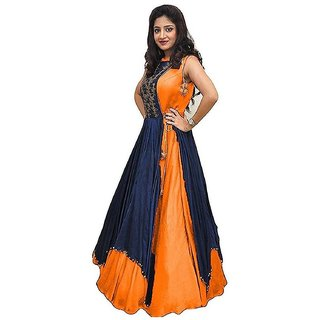 V-KARAN Women's Bangalore Silk Orange Party Wear Designer Semi-stitched Gown