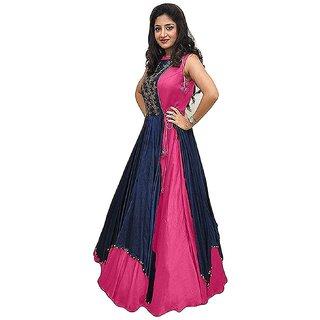 Buy V-KARAN Women s Bangalore Silk Pink Party Wear Designer Semi-stitched  Gown Online - Get 80% Off 625b6d387