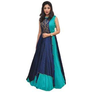 V-KARAN Women's Bangalore Silk Blue Party Wear Designer Semi-stitched Gown