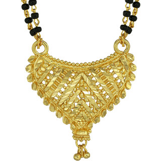 Memoir 1 Micron, Genuine Yellow Gold plated Heart shape design superfine Hand chilai work, Ethnic Mangalsutra, Tanmaniya Women Traditional
