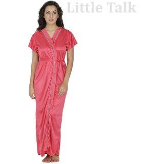 Little Talk Women Satin Nightwear And Bikini Set (Pink)