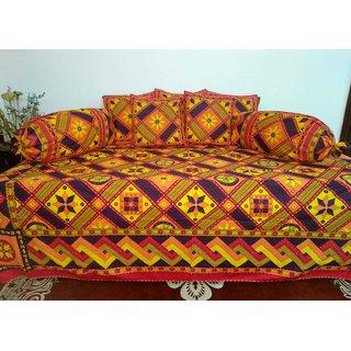 AH Set of 8 Pcs Kantha Work  Design Cotton Diwan Set ( 1 Diwan Sheet , 2 Bolster Cover , 5 Cushion Cover ) - Multicolor