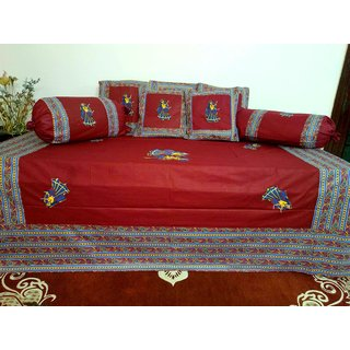 AH Set of 8 Pcs   Patch Work  Design Cotton Diwan Set ( 1 Diwan Sheet , 2 Bolster Cover , 5 Cushion Cover ) - Red Color