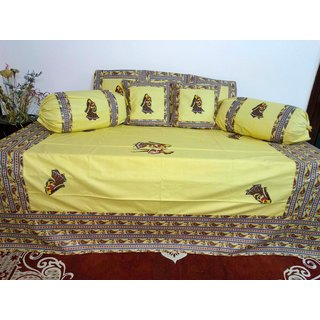 AH Set of 8 Pcs   Patch Work  Design Cotton Diwan Set ( 1 Diwan Sheet , 2 Bolster Cover , 5 Cushion Cover ) - Multi Color
