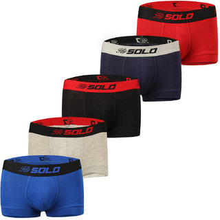 Solo Mens Modern Grip Short Trunk Cotton Stretch Ultra Soft Classic Boxer Brief (Pack of 5)