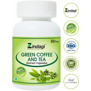 Zindagi Green Coffee Capsules - Natural Green Coffee Beans Powder - Coffee Powder For Weight Lose