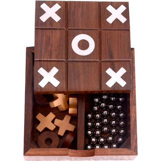 Desi Toys 2 in 1 Solitaire Tic Tac Toe game in wood Phuli Gola aur Buddhijaal