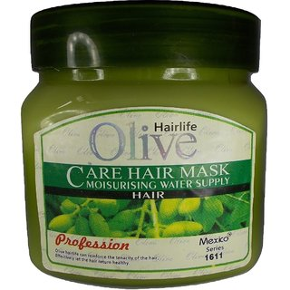 OLIVE HAIR CARE MASK (550 ML)  MADE FOR YOUR LOVELY HAIR WITH RICH OLIVE EXTRACTS TO MAKE A SOFT LOOK OF YOUR HAIR