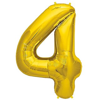 4 Number Foil Balloon 17 Inch Golden Color/Theme Birthday Party Foil Balloon-Golden Color