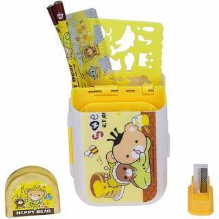 AVMART Stationery stand Bear Art Plastic Pencil Box (Yellow)