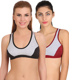 Arousy Girl's Seamed Wirefree Bra Non Padded Full Coverage Bra For Women Milanche Fabric Sports Bra Pack of 2