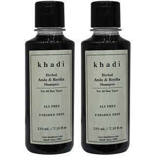 Khadi Herbal Amla  Reetha Shampoo SLS-Paraben Free - 210ml (Set of 2)