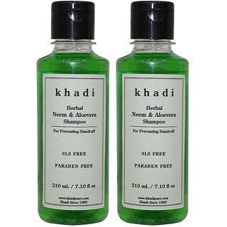 Khadi Herbal Neem  Aloevera Shampoo SLS-Paraben Free - 210ml (Set of 2)