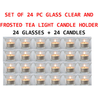 DECORATIVE 24 PIECE TEALIGHT CANDLE HOLDERS WITH 24 PIECE CANDLES