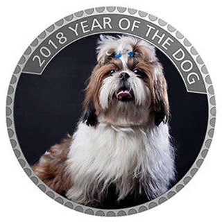 Classic Puppy Coin 2018 Year of Dog Home Decorative Silver Plated Coin (f) UNC SILVER PLATED COIN 40mm X 3 MM,