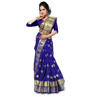 Pemal Designer Women's Blue Cotton Silk Weaving Saree With Jecqured Border Running Blouse Pics BBC 111G