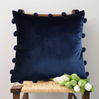 Lushomes Smooth Navy Blue Velvet Cushion Covers with matching vibrant Pom Poms (Single Pc, 16 x 16)