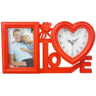 Atorakushon 4 x 6 Photos Frame with loveshep clock Happy moments decoration Valentine, Friendship Day gift.