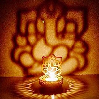 LOF Laxmi Ganesh Shadow T-Light Holder Along with Set of 2 T-Light Candles