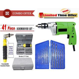 Shopper52 Special Combo Offer! Powerful Drill Machine + 13Pcs Drill Bit Set + 41 Pcs Toolkit Screwdriver - CMD13B41T