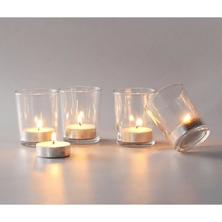 DECORATIVE TEALIGHT CLEAR GLASS VOTIVE CANDLE HOLDER SET OF 24 GLASS + 24 TEALIGHT CANDLES